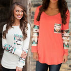 New Women Lady Casual Floral Long Sleeve O Neck Top Blouse Tee Shirt T-Shirts