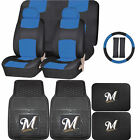 Synthetic Leather Seat Covers Set MLB Milwaukee Brewers Rubber Mat Universal on Ebay