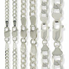 STERLING SILVER FLAT D/CUT CURB CHAIN LINK NECKLACE LADIES GENTS BRACELET BOXED