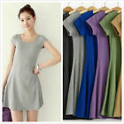 Women Casual Dress Short-Sleeve Candy Color One-piece Slim Dress Hot Sale
