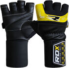 RDX Pro Weight Lifting Gloves Body Building Gym Straps Bar Leather Gel Training