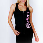 New Ladies Poly Sports Hoody Racer Back Tank Tee Womens Gym Singlet MACRI Top