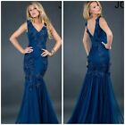 Jovani 72738 sexy mermaid gown navy features beautiful beaded lace applique$878