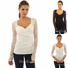 PattyBoutik V Neck Sweetheart Floral Lace Long Sleeve Stretch Blouse