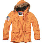 BRANDIT VINTAGE STARS & STRIPES PARKA WARM MENS EXPLORER JACKET EMERGENCY ORANGE