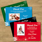 Personalised Black Green Red Blue Christmas Photo Thank You Cards With Envelopes