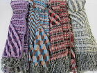 Ladies Winter Azetic Textured Style Scarf - 90750 Grey, Purple, Red/Black & Blue