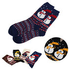 Women Men Thick Merry Christmas Deer Snowflake Santa Snowman Cartoon Socks XMAS