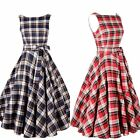 Sexy Lady Blue/Red Plaid Vintage Pinup Sleeveless Summer Swing Belt Casual Dress