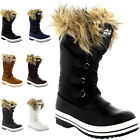 Womens Nylon Warm Fur Trim Duck Rain Snow Outdoor Tall Winter Rain Boots UK 3-10