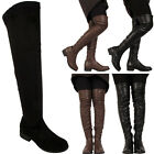 LADIES SLOUCH FLAT HEEL  OVER THE KNEE HIGH HIGH ZIP WINTER FAUX LEATHER BOOTS