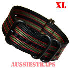 EXTRA LONG Premium ZULU 5 Ring PVD BLACK GREEN RED BOND Watch Strap Band XL