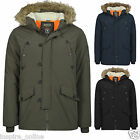 MENS DESIGNER HOODED PARKA LINED BRAVE SOUL PADDED WINTER QUILTED COATS JACKETS