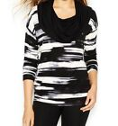 NEW KENSIE LONG- SLEEVED COWL NECK TIN COMBO LADIES TOP BLACK WHITE XS, S, M