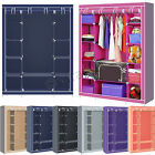Double Canvas Portable Wardrobe Cupboard With Hanging Clothes Rail Storage Shelf