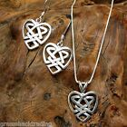 CELTIC HEART 925 Sterling Silver Earrings and Necklace Jewelry Set