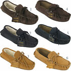 New Mens Flat Heel Comfort Fur Lined Leather Wool Suede Moccasins Slippers Shoes