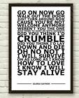 Gloria Gaynor - I Will Survive - White Typography Lyric Art Poster Print A4 A3