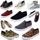 WOMEN LADIES FLATS SLIP ON SNEAKERS TRAINERS PLIMSOLLS SKATER PUMPS LOAFER SHOES