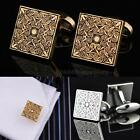 Square Antique Gold Men's Cuff Links Mens Wedding Party Gift Cufflinks HYSG