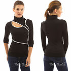 PattyBoutik Contrasting Trimmed Polo Neck Long Sleeve Top