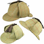 100% Wool Tweed Deerstalker Hat Waterproof Sherlock Holmes English Hunting Cap
