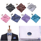 Gentlemen Wedding Party Tuxedo Checks Silk Pre-Tied Bowtie +Hanky +Cufflinks Set