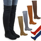 Womens Over The Knee High Flat Ladies Long Faux Suede Thigh High Boots Size 3-8