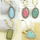 US Faux Opal Crystal Glass Gemstone Pendant Long Necklace Vintage Style bead
