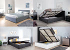 4ft6 Double Ottoman Leather Storage Gas Lift Up Bed Strong With Mattress Option