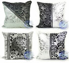 """Cushions Jacquard Silver Damask Pattern Cushions or Covers 17x17"""""""