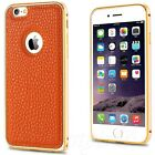 iPhone 6 6S+Plus Metal Aluminum Luxury Bumper Leather Back Hard Case Cover New
