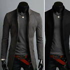 Mens Premium Slim Fit China Collar Long Blazer Jacket Jumper Coat E06 - XS/S/M/L