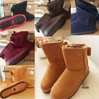 5Colors Women Bowknot Winter Warm Ankle Snow Flat Boots Suede Shoes Flat 4 Sizes