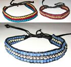 FRIENDSHIP BRACELET RED BLUE ADJUSTABLE WOMENS ANKLET SILVER BEADS NEW BEACH
