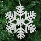 Pack of 2 White Glitter Snowflake Christmas Hanging Decoration (3 Sizes)