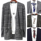 Mens Luxury Long Pocket V-neck Cardigan Sweater Jacket Jumper Knit Top E012 M/L