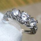 Silver Wedding White Sapphire Lady's Rings Size 7/8/9 for Her Gift