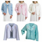 Womens Fleecy Bed Jacket Slenderella Ribbon Tie Floral Embroidered House Coat