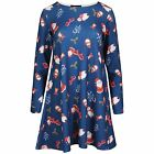 Womens Christmas Dresses Long Sleeve Santa Bear Gingerbread Print Swing Ladies