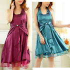 Girls Party Dress Halter Formal Graduation Dress Purple Or Green Size 10 to 14