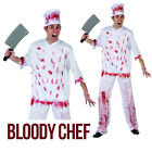 Adult Men Bloody Chef Halloween Kitchen Outfit Wear Fancy Dress Costume Party Uk