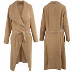 Womens Duster Waterfall Coat Celebrity Long Length Winter Jacket UK8-12 Camel