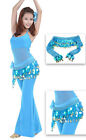 Belly Dancing Skirts Chiffon Dangling Gold Coins Belly Dance Hip Scarf