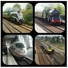 TRAINS (NEW & OLD) -  NOVELTY COASTERS - EASY CLEAN - NEW - GIFT IDEAS / XMAS