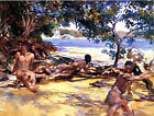 Classic American Impressionist art print - Bathers by John Singer Sargent