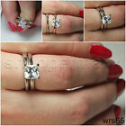 SIMPLE STERLING SILVER 925 NICKEL FREE SOLITAIRE ENGAGEMENT & WEDDING RING SET