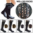 Ladies Womens Wellington Socks Sexy Winter Warmer Lace Lined Soft Foot Boots NEW