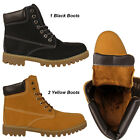 Mens Fur Lined Ankle Boots Winter Warm Combat Grip Sole Work High Hi Top Shoes