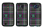 PERSONALIZED RUBBER CASE FOR SAMSUNG S4 S5 S6 BLACK STRIPED PLAID